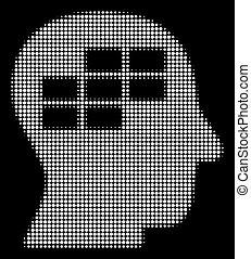 White Halftone Schedule Thinking Icon - Halftone pixel...