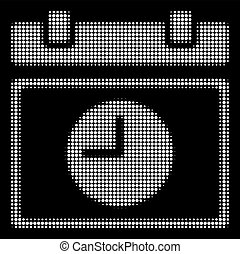 White Halftone Time Schedule Icon - Halftone pixelated time...