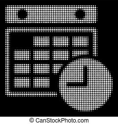 White Halftone Time Table Icon - Halftone dotted time table...