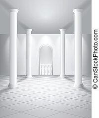 White hall with columns, tiled floor and balcony