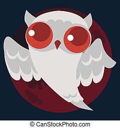 White Halloween ghost owl poster