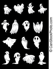 White Halloween ghosts and poltergeist on black background, for scary, fear or danger concept design