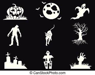 white halloween icons set on black background