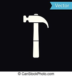 White Hammer icon isolated on black background. Tool for repair. Vector Illustration