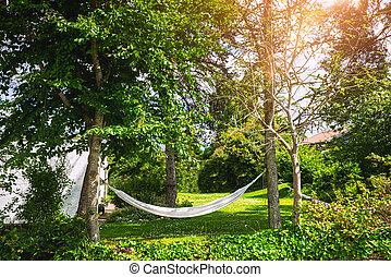 White hammock in a green garden