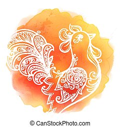 White hand drawn doodle rooster on red watercolor stain background