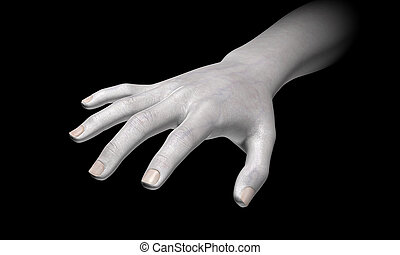 White hand in the dark