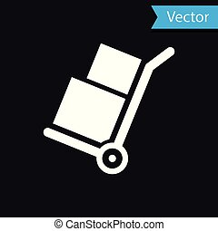 White Hand truck and boxes icon isolated on black background. Dolly symbol. Vector Illustration