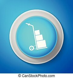 White Hand truck and boxes icon isolated on blue background. Dolly symbol. Circle blue button with white line. Vector Illustration