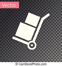 White Hand truck and boxes icon isolated on transparent background. Dolly symbol. Vector Illustration