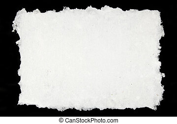 white handmade paper on black background
