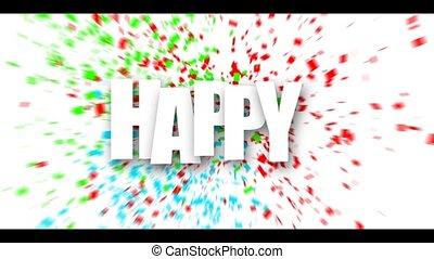 White Happy birthday sign over confetti. - White Happy...