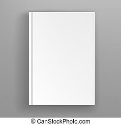 White hardcover book album vector mock up on grey table.