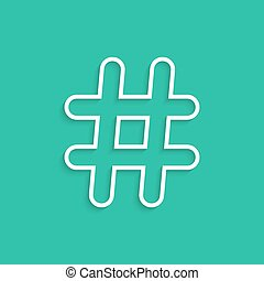 white hashtag icon isolated on green background