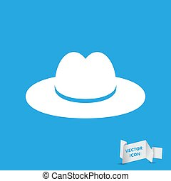 white hat on the blue background