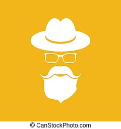 white hat with mustache, beard and glasses isolated on a yellow