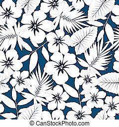 White hawaiian hibiscus. - White hawaiian hibiscus seamless...