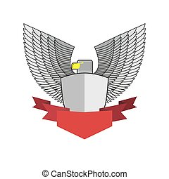 White Hawk with shield and red Ribbon. Bird and shield heraldic symbol. Vector emblem Angry militant bird