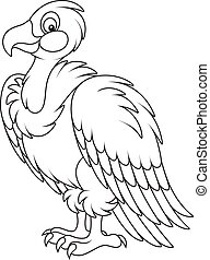 White headed vulture - Black and white vector illustration...