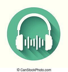 White Headphone and sound waves icon isolated with long shadow. Earphone sign. Concept object for listening to music, service, communication and operator. Green circle button. Vector Illustration