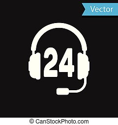 White Headphone for support or service icon on black background. Concept of consultation, hotline, call center, faq, maintenance, assistance. Vector Illustration