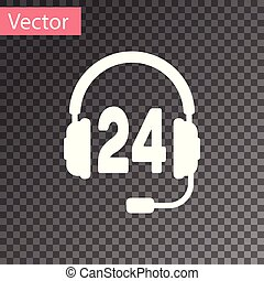 White Headphone for support or service icon on transparent background. Concept of consultation, hotline, call center, faq, maintenance, assistance. Vector Illustration
