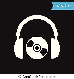 White Headphones and CD or DVD icon isolated on black background. Earphone sign. Compact disk symbol. Vector Illustration