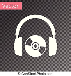 White Headphones and CD or DVD icon isolated on transparent background. Earphone sign. Compact disk symbol. Vector Illustration
