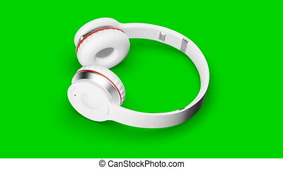 White headphones green screen 3d render Isometric