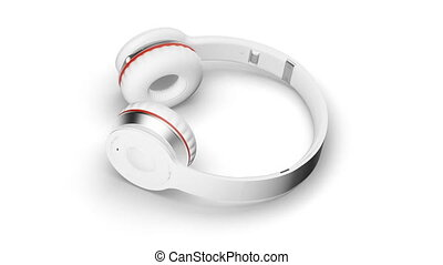 White headphones on white 3d render Isometric view
