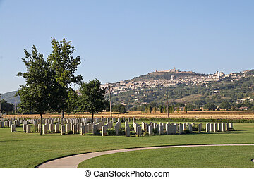 headstones of a cemetery at war