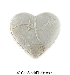 White heart box mulberry paper isolation