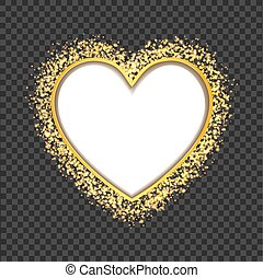 white heart frame with glittering golden transparent particles. vector