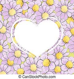 White heart in chamomile