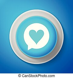 White Heart in speech bubble icon isolated on blue background. Heart shape in message bubble. Love sign. Valentines day symbol. Circle blue button with white line. Vector illustration