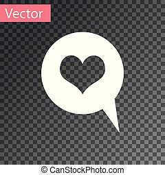 White Heart in speech bubble icon isolated on transparent background. Heart shape in message bubble. Love sign. Valentines day symbol. Vector Illustration
