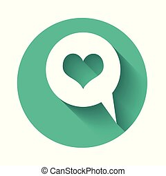 White Heart in speech bubble icon isolated with long shadow. Heart shape in message bubble. Love sign. Valentines day symbol. Green circle button. Vector Illustration