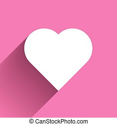 White heart long shadow icon on pink background. Symbol of love. Vector illustration