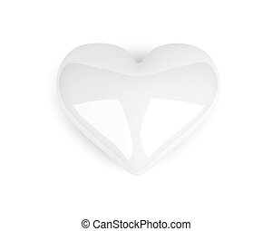 white heart lying on the white background