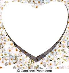 White heart on background of blossoming cherries flower