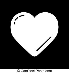 White Heart on black vector icon. Love symbol. Valentine day concept