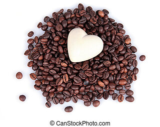 heart on coffee beans