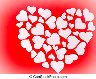 White heart on red background