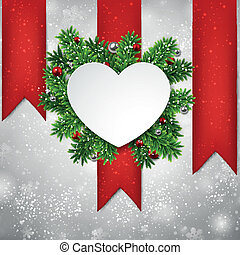 White heart paper christmas card.