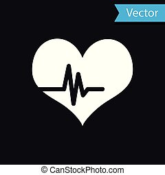 White Heart rate icon isolated on black background. Heartbeat sign. Heart pulse icon. Cardiogram icon. Vector Illustration