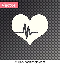 White Heart rate icon isolated on transparent background. Heartbeat sign. Heart pulse icon. Cardiogram icon. Vector Illustration