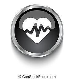 White Heart Rate Pulse symbol on black glossy web button