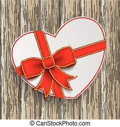 White Heart Red Ribbon Wood