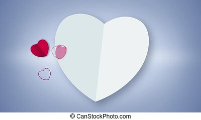 White heart shape card animation with red heart particles...