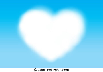 white heart shape cloud style space for copy message text on the blue background